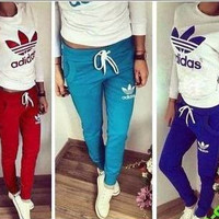 "[ On Sale ] "" Adidas "" like and Logo Print Casual Slim Fit Long Sleeve Women Blouse Top Shirt Sweatshirt and Sweatpants Bottom 2 Piece Set for Running Exercise Gym Yoga Fitness"