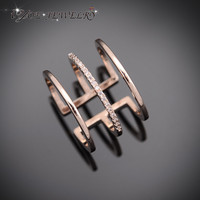 Punk Style Popular Midi Knuckle Ring 18K Rose Gold Plated CZ Diamond Rings for Women Fashion Brand Adjustable Ring