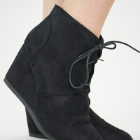 San Francisco LACE UP WEDGE BOOTIES