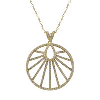 Gold Plated Sterling Silver 30mm Round Pendant, Line Design, White CZ, 1.46
