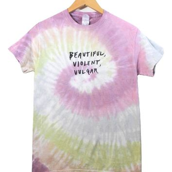 Beautiful, Violent, Vulgar Pastel Tie-Dye Graphic Unisex Tee