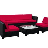 7 pcs Luxury Black Wicker Patio Sectional Indoor Outdoor Sofa Furniture set - Red Cushion