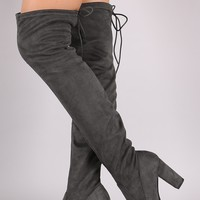 Delicious Suede Drawstring Chunky Heeled Boots