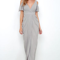 Bariano Graze-ful Dancer Grey Maxi Dress