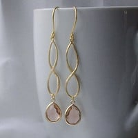 Blush Long Crystal Drop Earrings