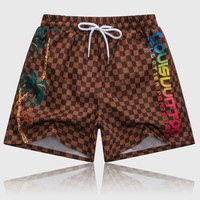 LV 2018 new classic checkerboard print loose casual beach pants Brown