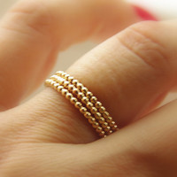SALE:Yellow Gold Filled Dotted Stackable Rings (eternity bands) skinny, thin dainty, thumb finger ring, stack, stacker, stacking rings
