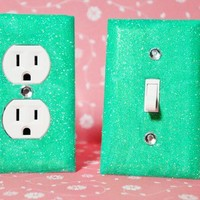 SET of MINT GLITTER Switch Plates / Outlet Covers ANY STYLES