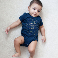 Made out of Stars baby bodysuit - Navy and Gold