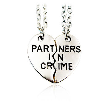 'Partners In Crime' BFF Friendship Necklace