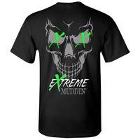 Extreme Muddin' Skull On on a Black T Shirt