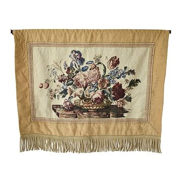 Romantic Floral Victorian Style Wall Tapestry Floral Bouquet Fringe
