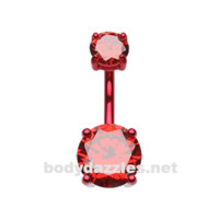 Red Colorline Gem Prong Sparkle Belly Button Ring Stainless Steel Body Jewelry