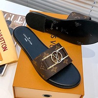 LV Louis Vuitton flat women's fashionable outer wear slippers shoes