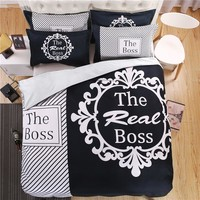 modern black and white real boss bedding set duvet cover bed sheet pillow case king queen size bed linen set 4pcs