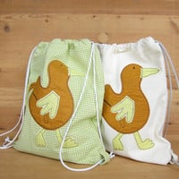 Child fabric backpack Cute duck cotton cloth bag Toys storage bag School funny bag white green Clothes storage bag Christmas Gift for kids