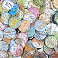 Map Pinback Buttons - Grab Bag of 7 Pins