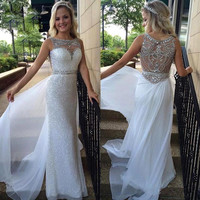 Elegant Crystal Beaded Evening Dresses Sweetheart Sheer Illusion Sequins Skirt White Chiffon Tail Long Prom Gowns 2016 JB964