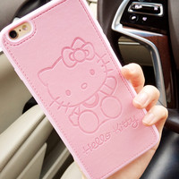 High quality Pu Leather cute Hello kitty case for Apple iphone 6 6s 6plus 7 7plus Lovers TPU silicone phone case back cover capa