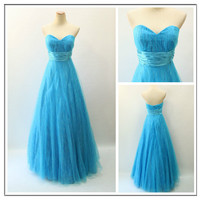 WowDresses — Shiny Blue Ball Gown Sweetheart Neckline Floor Length Prom Dress