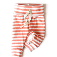 Organic Drawstring Leggings Coral Stripes