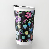Bright Floral Delight Travel Mug by Noonday Design | Society6