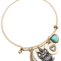 Owl Be Ok Charm Bracelet - One Size / Gold