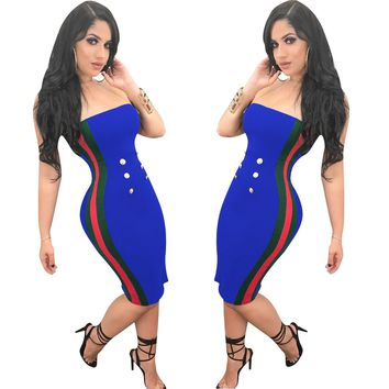 Block Color Tube Dress with Buttons