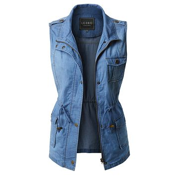 Denim Anorak Military Vest with Waist Drawstring (CLEARANCE)