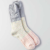 AEO Colorblock Cable Crew Socks , Pink