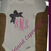 #Baby Girl Initial Monogram With Bow Onesuit