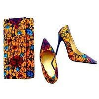 Sunflower African Print Shoes And Bag Set