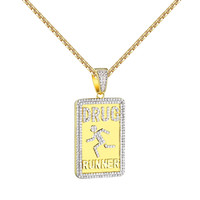 "Drug Runner Pendant Hip Hop Custom 14k Gold Finish Iced Out 24"" Necklace Mens"