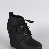 Qupid Distressed Nubuck Lace Up Wedge Bootie Color: Black, Size: 7