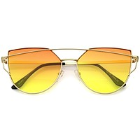 Women's Retro Modern Cross Bar Gradient Lens Sunglasses A952