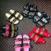 LV Shoes Louis Vuitton Slippers Sandals Slides Brand Real Leather Designer Shoes Loafers Scuffs For Woman