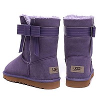 UGG Women Fashion Bow Fur Wool Snow Boots Half Boots Shoes