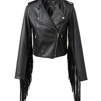 Black Faux Leather Long Sleeve Fringed Jacket with Zipper
