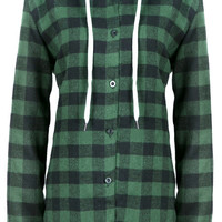 WealFeel Plaid to the Bone Button-Up Hooded Outerwear