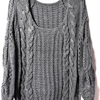 ROMWE | Cable Kintted Loose Grey Jumper, The Latest Street Fashion