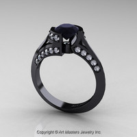 Exclusive French 14K Black Gold 1.0 Ct Black and White Diamond Engagement Ring Wedding Ring R376-14KBGDBD