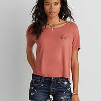 AEO Boxy Embroidered Graphic T-Shirt, Desert Red