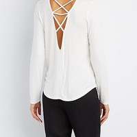 Caged Lattice-Back Top | Charlotte Russe