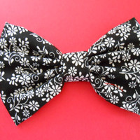 Black/ White Flowers Hair Bow, Fabric Hair Bow, Girls Hairbow