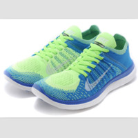 NIKE knitting flying line casual sports shoes Sapphire blue fluorescent green