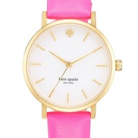 Women's kate spade new york 'metro' round leather strap watch, 34mm - Bazooka Pink/ Gold