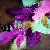 TROPICAL BIRD Feather Extension // Handmade Festival Hair Clip in Extension // Long Purple Pink Green Yellow