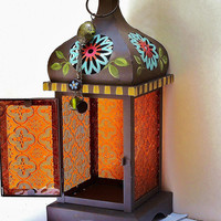 Moroccan Lantern Hand Painted Funky Hippie Bohemian Decor Hanging Candle Holder FREE SHIPPING