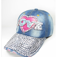 "In Style ""Bling"" Pink Love Silver Stud Hat"