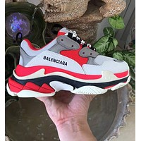 Balenciaga Trending Women Men Shoes Classic Triple Sneaker Red White Grey